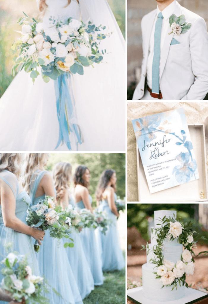 8 idées de couleurs de mariage d'été rustique populaires pour 2019 - Dusty Blue
