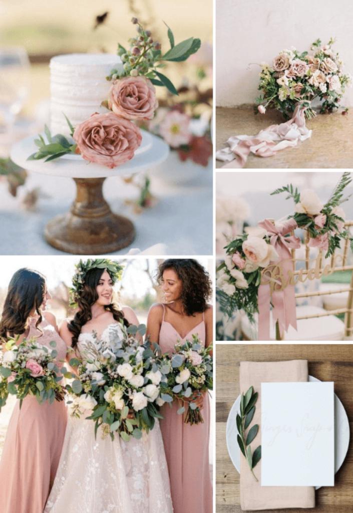 8 idées de couleurs de mariage d'été rustique populaires pour 2019 - Dusty Rose