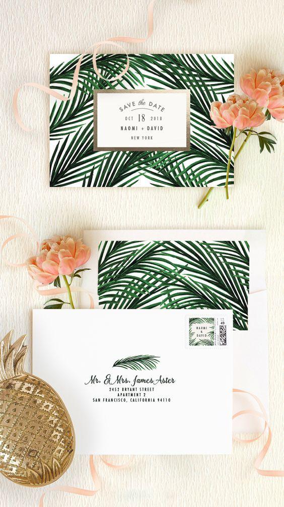 Tropical enregistrer l'idée de mariage de cartes postales de date | Frappé