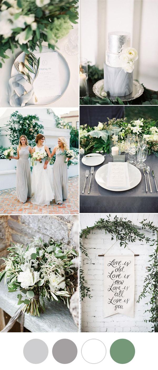 Idées de mariage de verdure grises et blanches élégantes et romantiques 50 idées de mariage de génie pour vous aider à organiser le mariage le plus unique de tous les temps