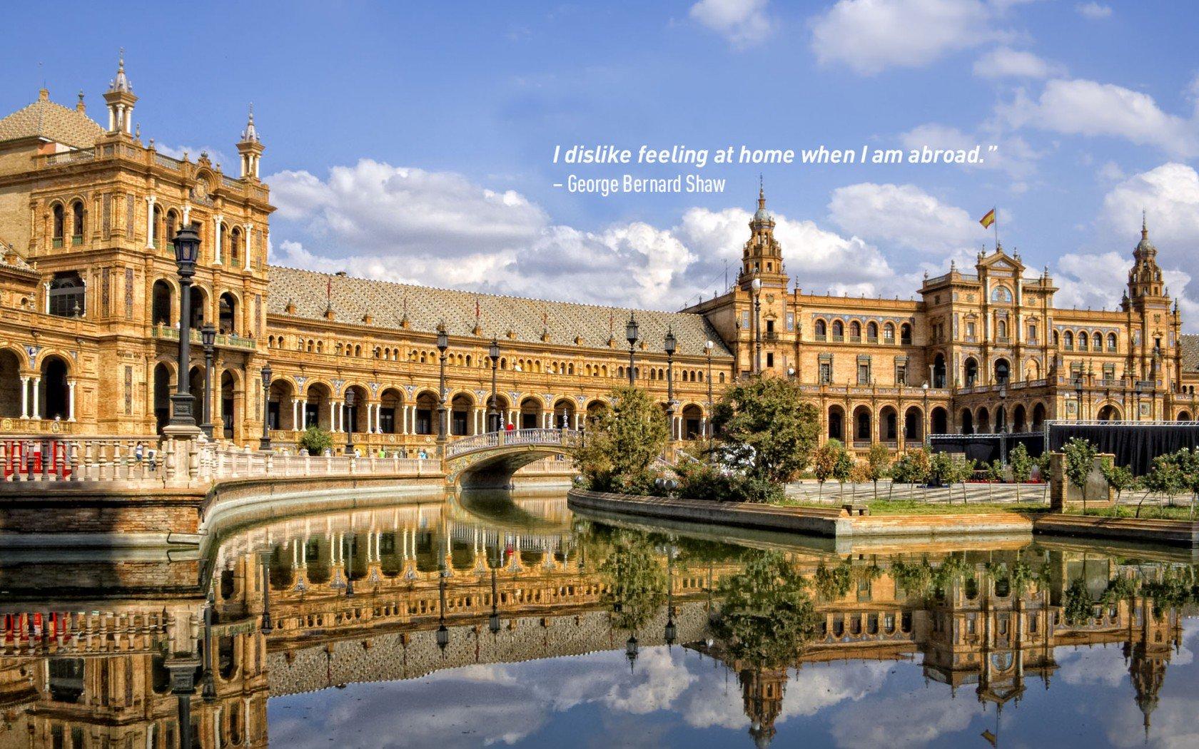 Citation de voyage de George Bernard Shaw. Plaza de España, Séville.