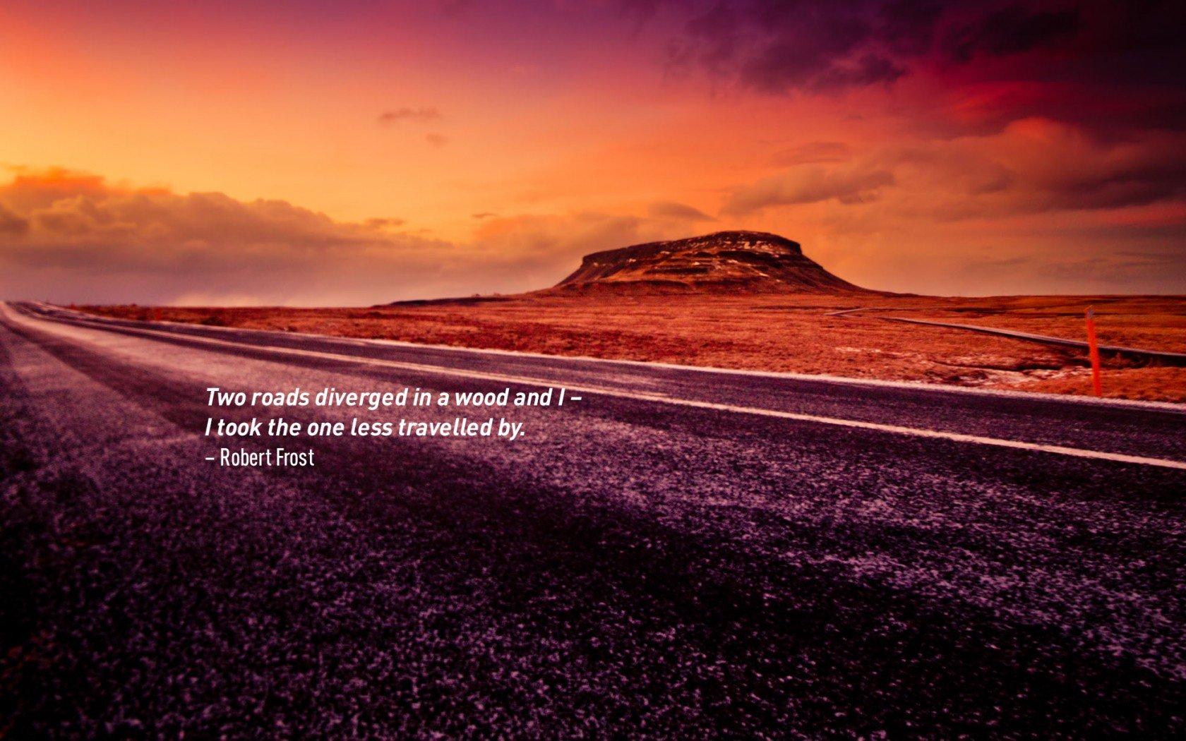 Citation inspirante de voyage par Robert Frost.