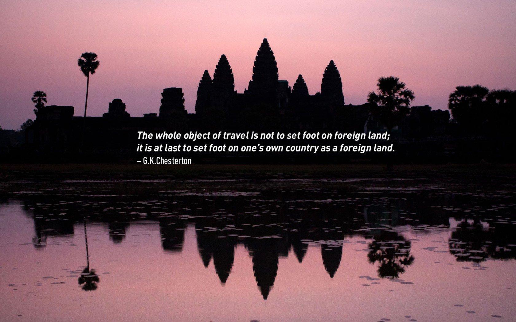 G.K. Citations de voyage de Chesterton. Coucher de soleil sur Angkor Wat, au Cambodge.