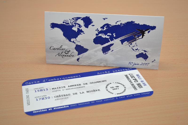 Invitation de mariage billet d'avion pas cher avec thème de voyage de carte d'embarquement
