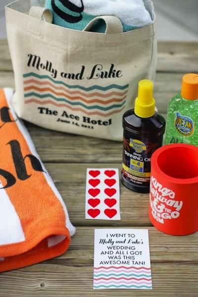 sacs-cadeaux de mariage tropical