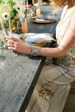 Bracelet Art Déco Strass Argent