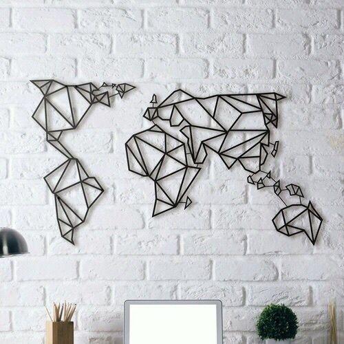Mur de briques blanches avec carte graphique noire du monde comme art mural