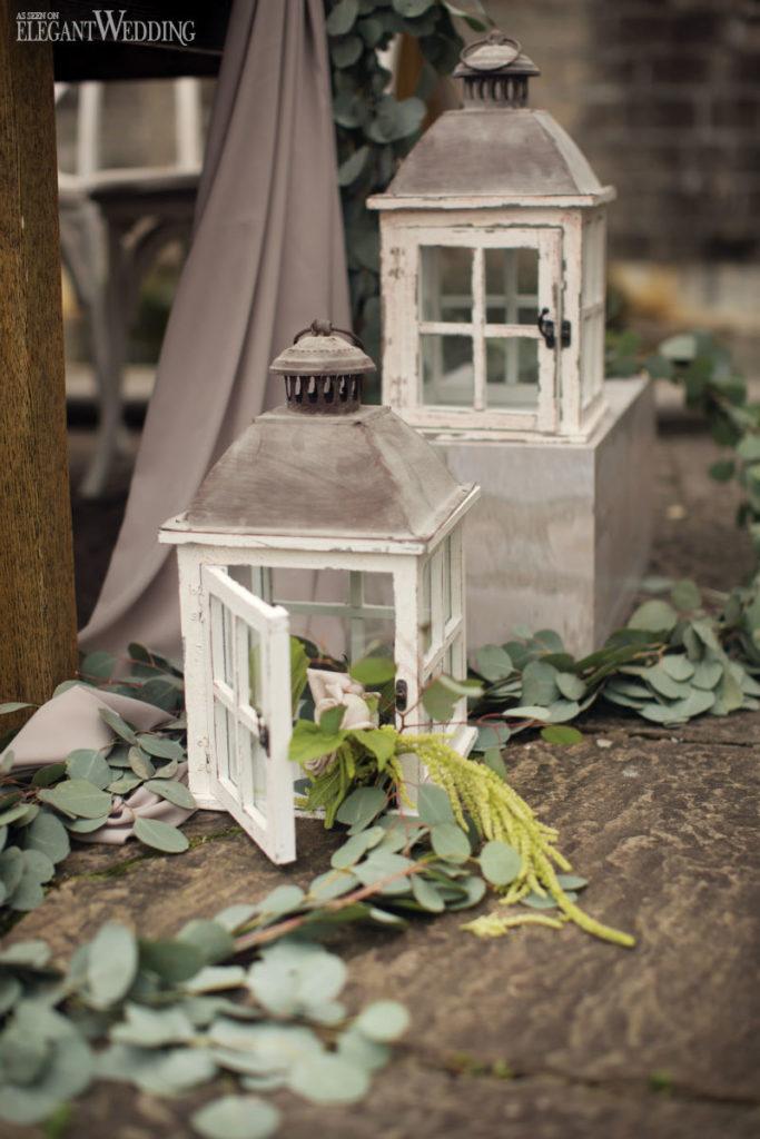 Décor de lanterne de mariage toscan